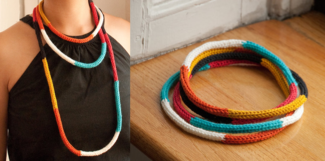 Color block cord necklace